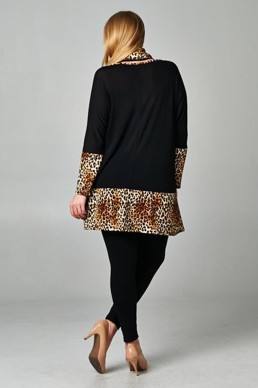 Plus Size Leopard Print Sweater Dress With Matching Scarf - DeSarti.com