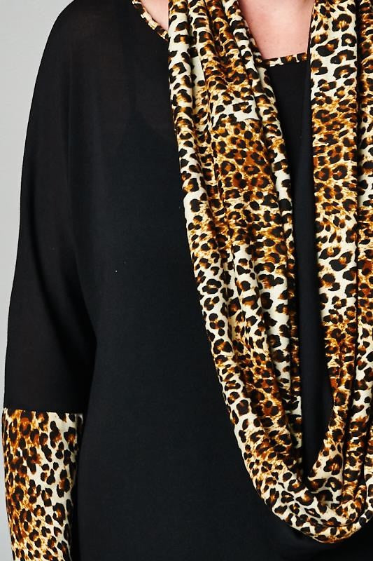 plus size leopard print sweater dress with matching scarf