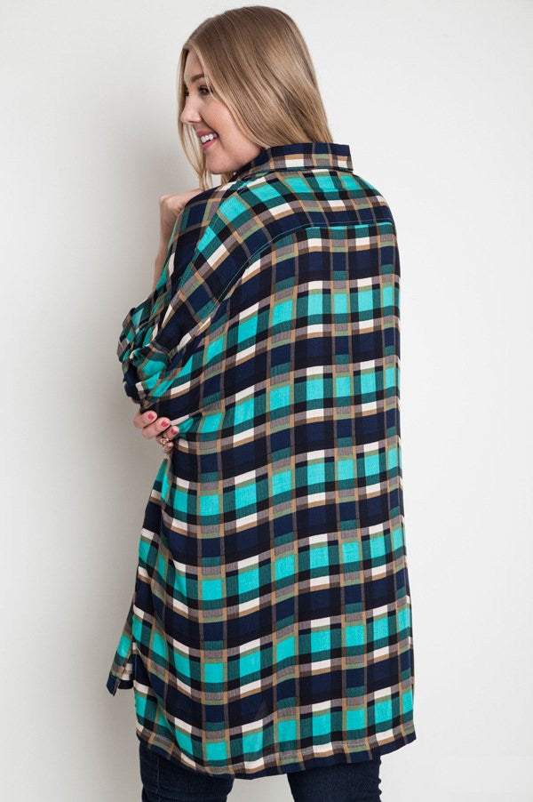 women's plus size oversized plaid tunic