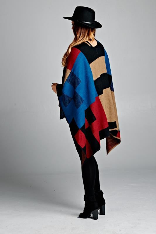 plus size multi colored checkered poncho