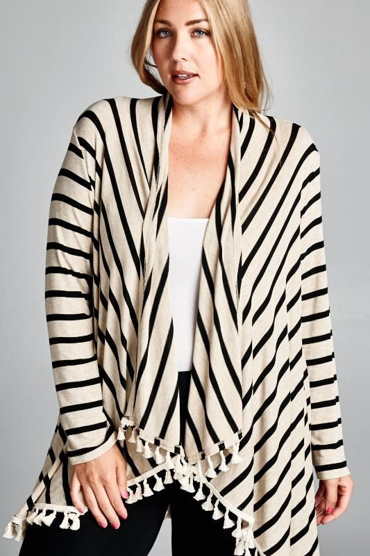 women's plus size striped cardigan black and oatmeal