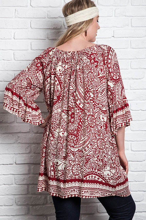 Plus Size Loose Knit 3/4 Sleeve Top - Red - DeSarti.com