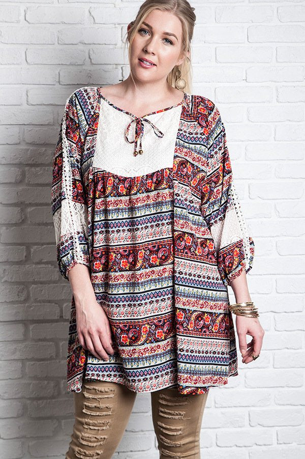 Plus Size Red Printed 3/4 Sleeve Peasant Dress