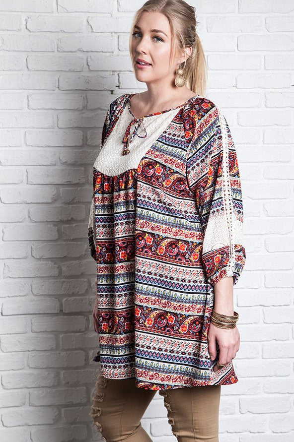 Plus Size Printed 3/4 Sleeve Peasant Dress - Red Multi - DeSarti.com