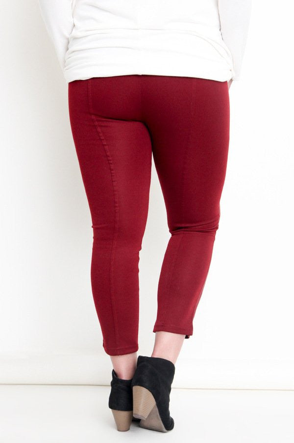 Plus Size Dual Fabric Red Wine Skinny Pant Jeggings