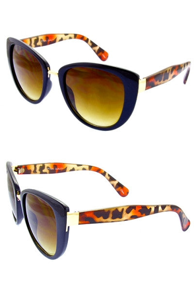 retro inspired sunglasses navy and leopard print frames