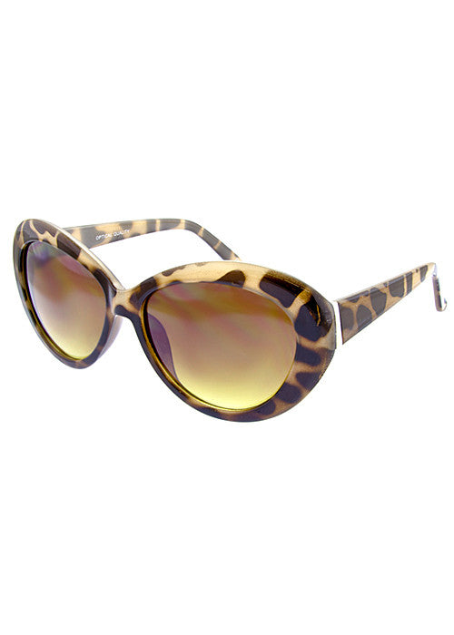 round cat eye sunglasses giraffe print frames