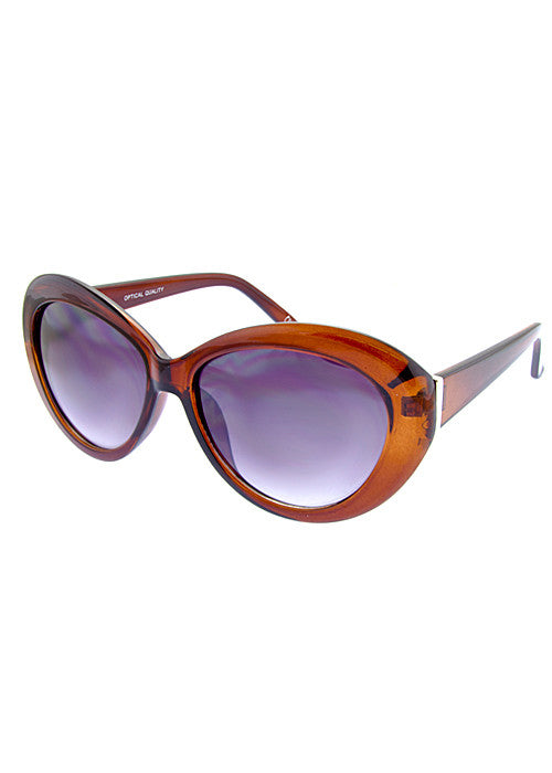 round cat eye sunglasses cognac frames