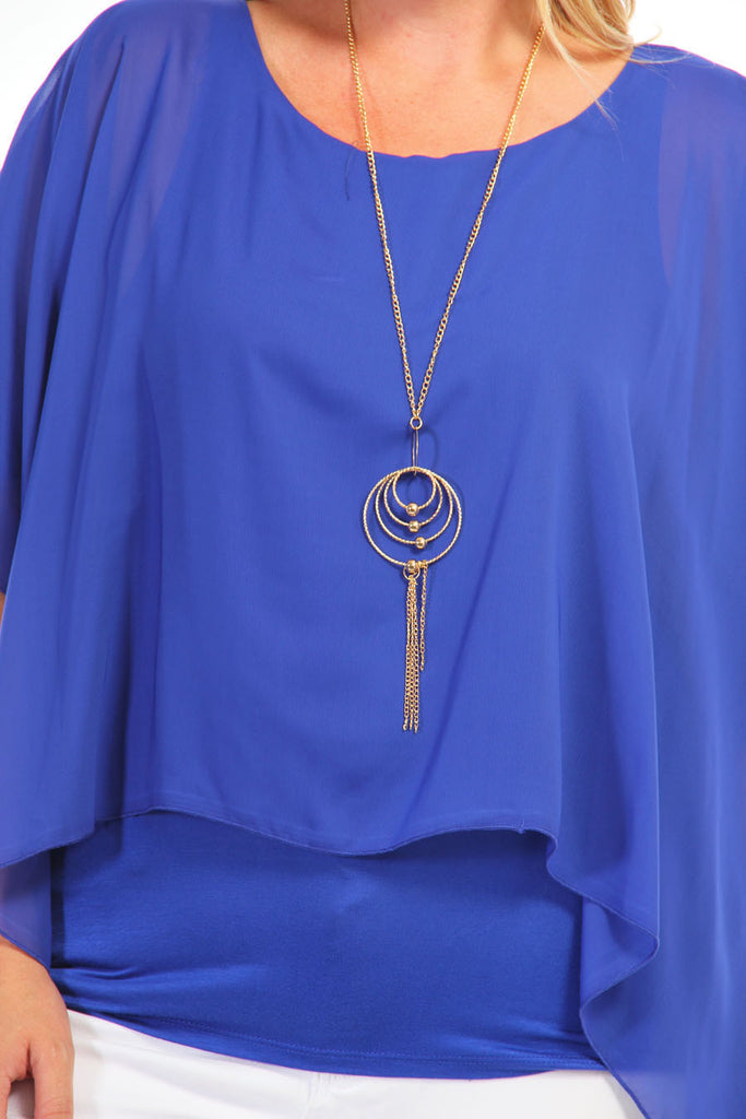 Plus Size Layered Cutout Sleeve Royal Blue Chiffon Top