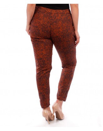 women's plus size waist tie rust print harem pants