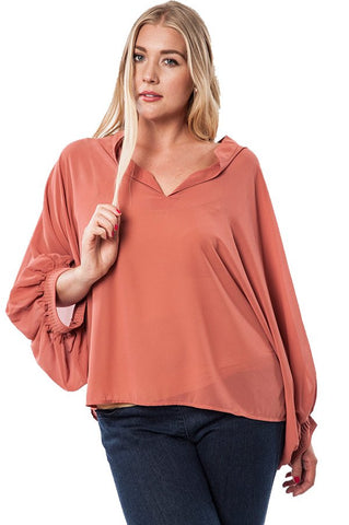 Plus Size Colorblock Dolman Sleeve Top - Peach