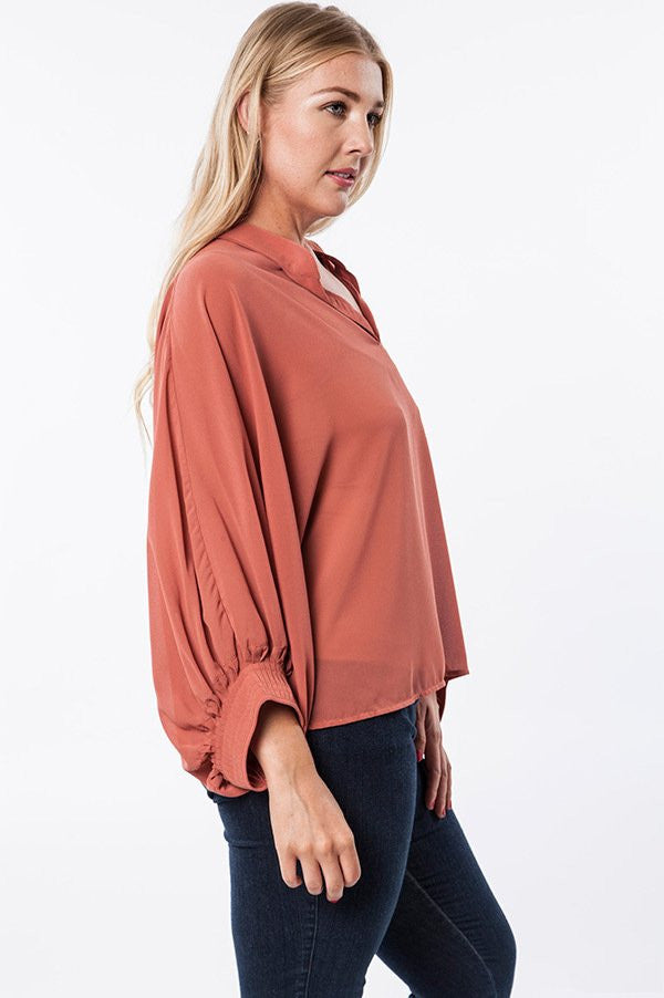 Plus Size Blush Semi Sheer Bishop Sleeve Top