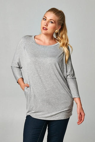 Plus Size Long Sleeve Basic Solid Top - Mustard