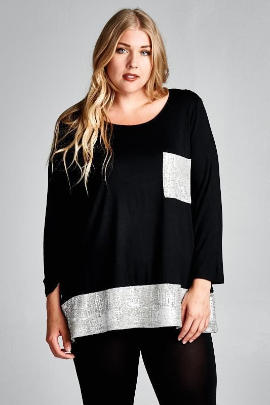 plus size black solid long sleeve top with silver hem