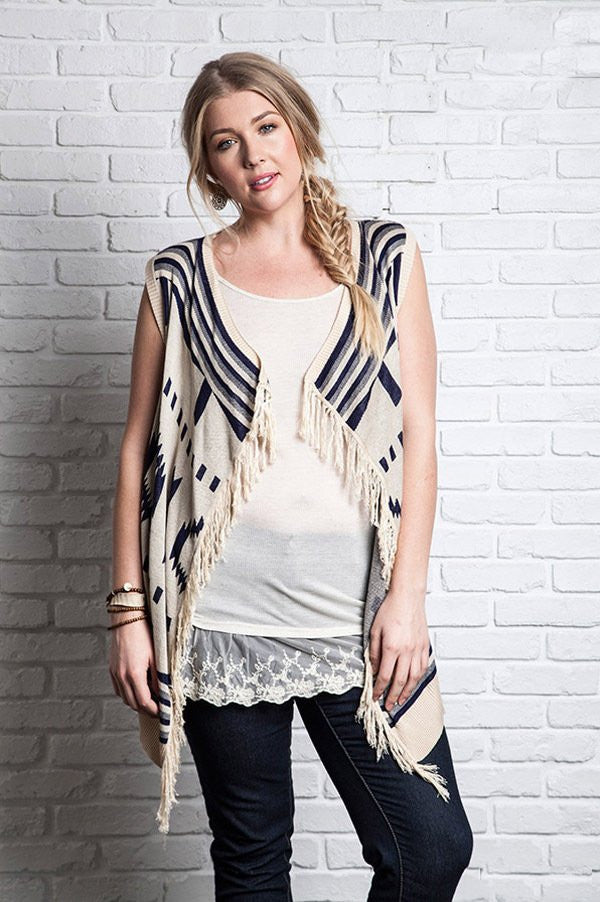 Plus Size Navy/Beige Printed Southwest Vest