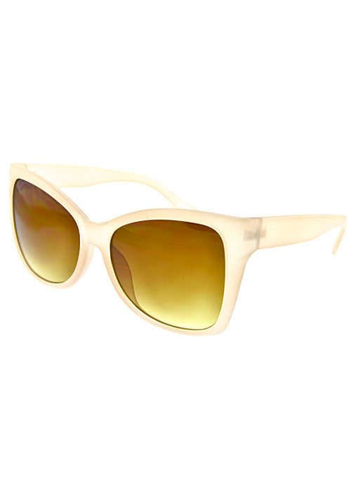 squared cat eye sunglasses in nude frames
