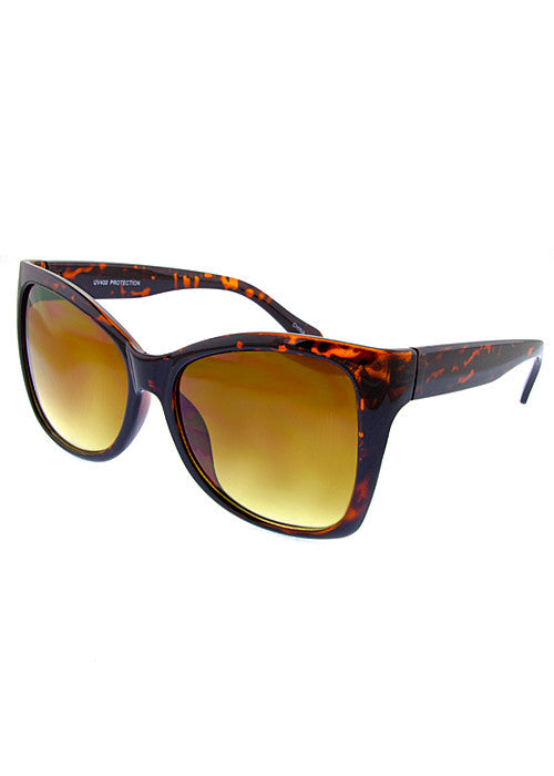squared cat eye sunglasses brown print frames