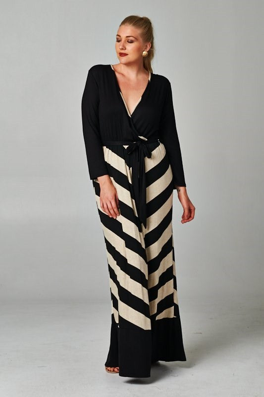 plus size striped maxi dress black and oat