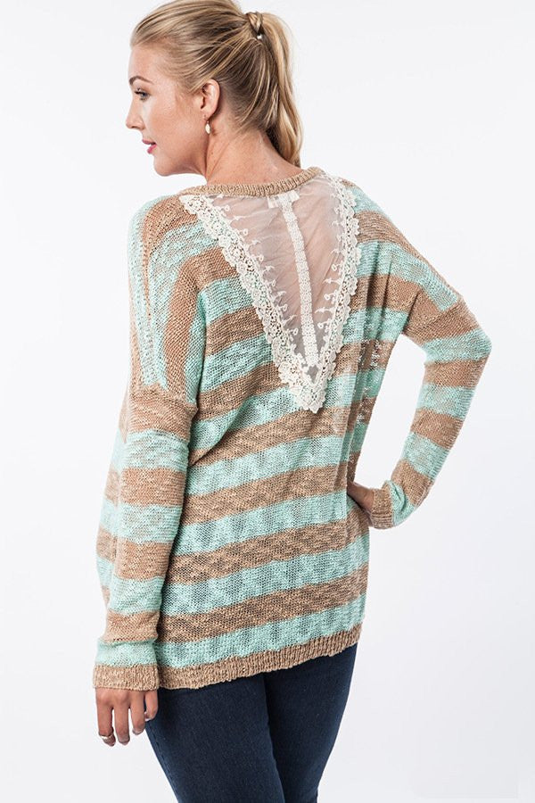 Plus Size Lightweight Striped Sweater Taupe/Mint