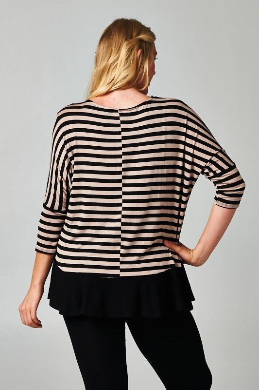 plus size taupe stripe blouse with solid hem
