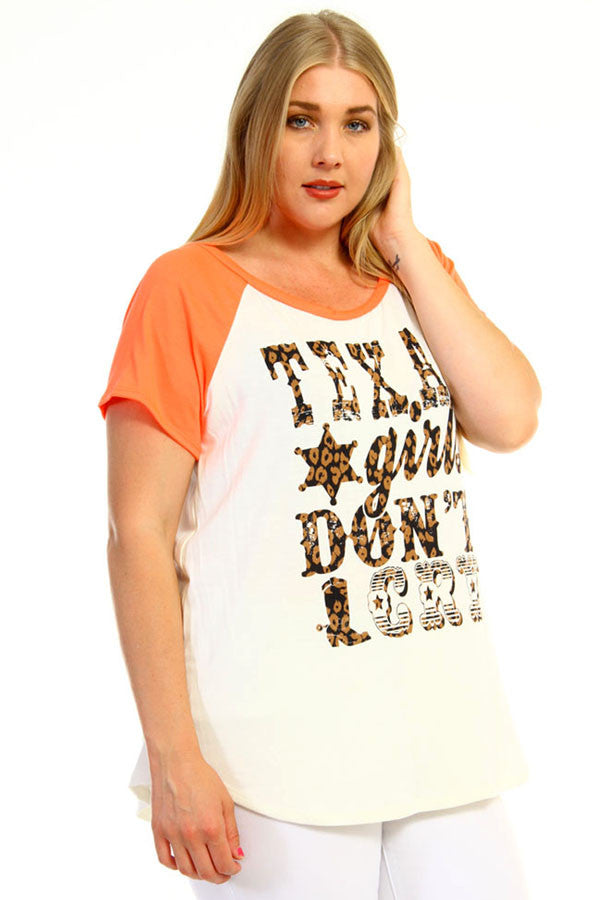 women's plus size texas girls don't cry graphic tee