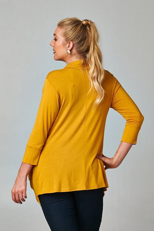 plus size three button and 3/4 sleeve cardigan mustard
