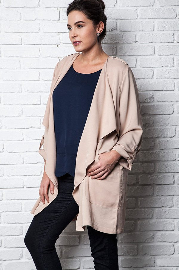plus size beige 3/4 sleeves lightweight trench coat