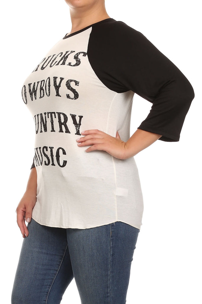 "plus size ""trucks, cowboys, country music"" tee with black sleeves"
