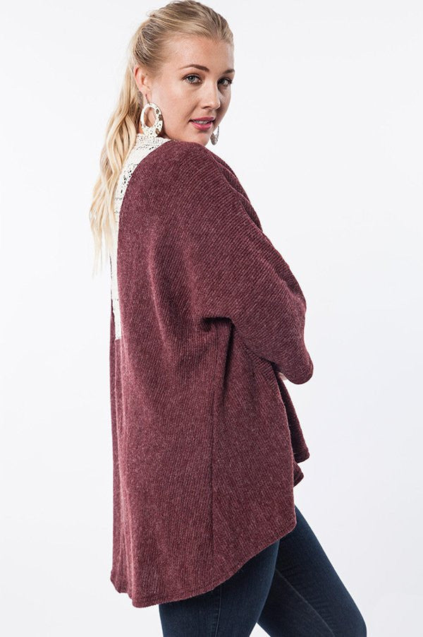 plus size wine kimono cardigan with lace detail