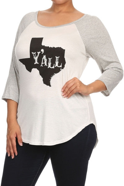 "plus size ""y'all"" graphic tee heather gray sleeves"