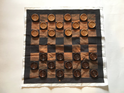 Silk Checkerboard with Handcrafted Checkers