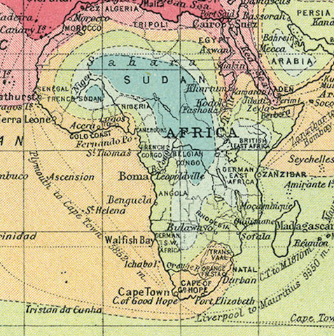 1914 Isochronic World Map
