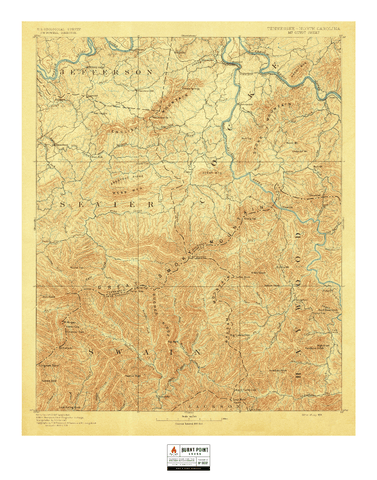 Vintage Map - Great Smokey Mountain National Park (1900)