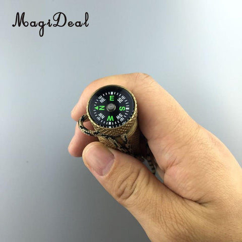 Brass match case with compass and cord