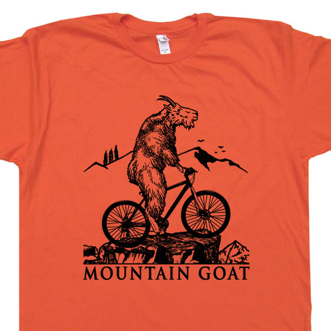 mountain goat riding mountain bike t shirt