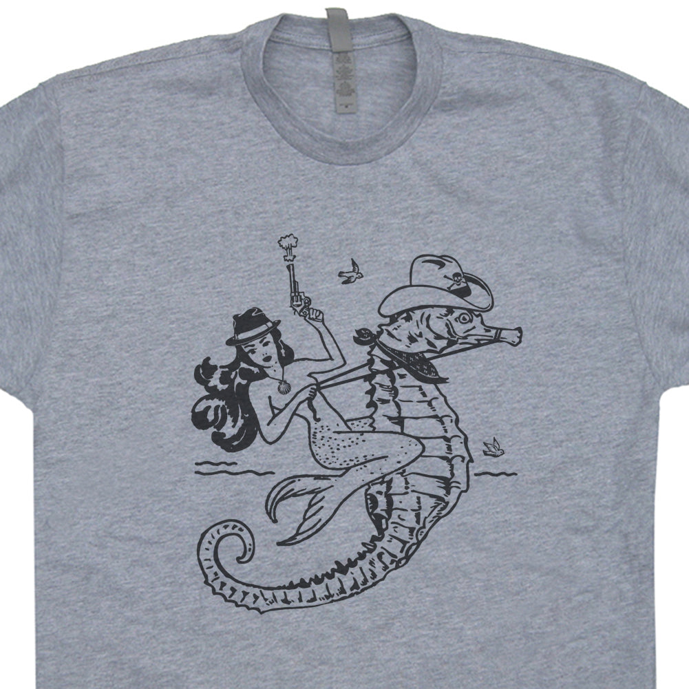 Mermaid T Shirt Cowgirl Mermaid Riding Seahorse Shirt Vintage Mermaid Graphic Shirt