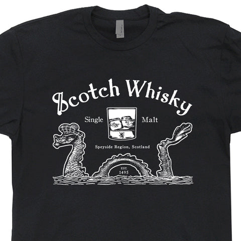 scotch whisky t shirt loch ness monster t shirt