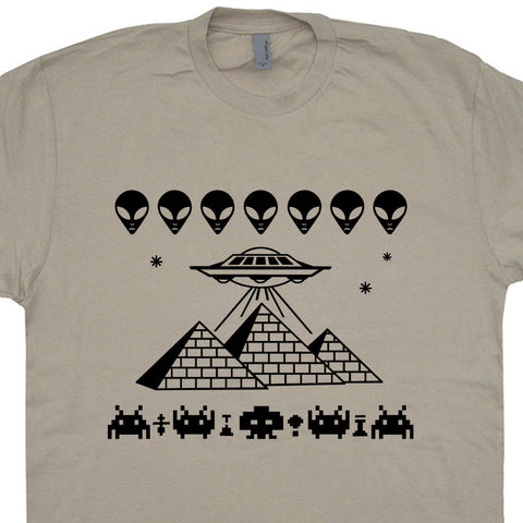 Pyramid T Shirt UFO T Shirt Space Invaders T Shirt Area 51 Shirt Aliens Tee