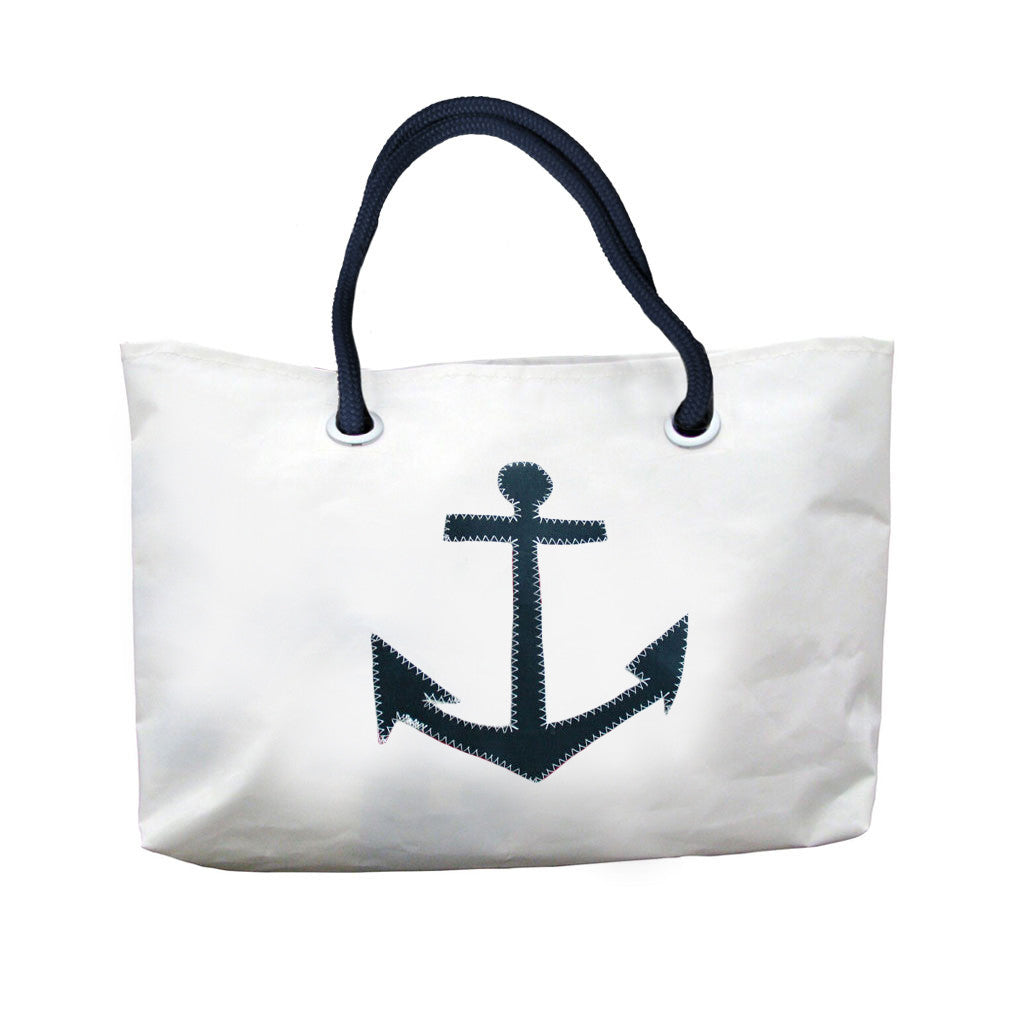 East Wharf Bags | Beach Bag with Navy Anchor