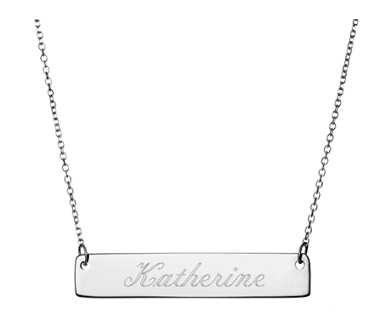 Engravable Name Bar Necklace, choose from Sterling Silver, Gold and Rose Gold. Engraving included.