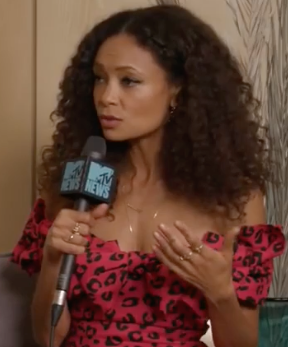 Thandie Newton wearing Colette Jewelry for MTV News