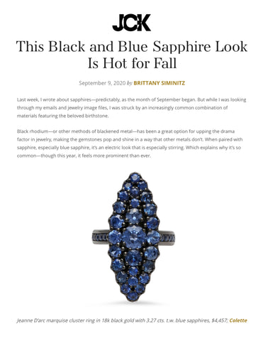 This Black and Blue Sapphire Look Is Hot for Fall      @jckmagazine @bsiminitz