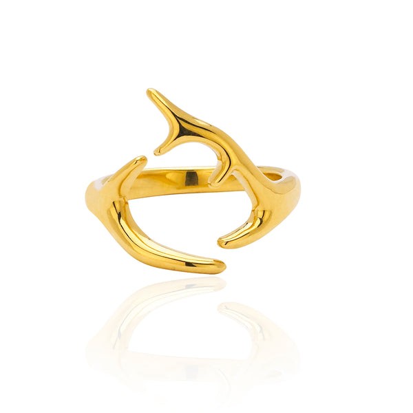Yellow Small Horns Ring
