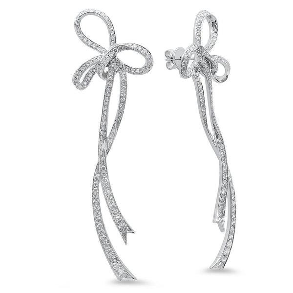White Diamond Bow Earring