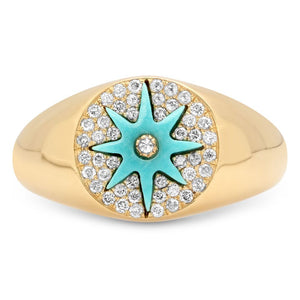 Star Signet Ring Yellow Gold - Three Colors
