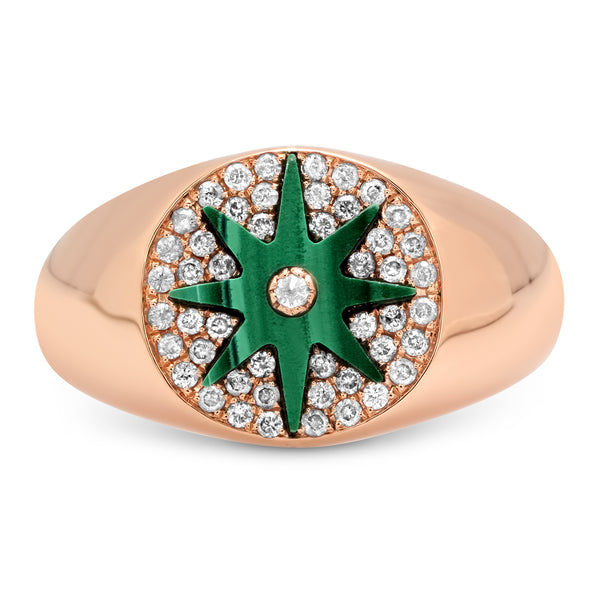 Star Signet Ring Rose Gold - Malachite