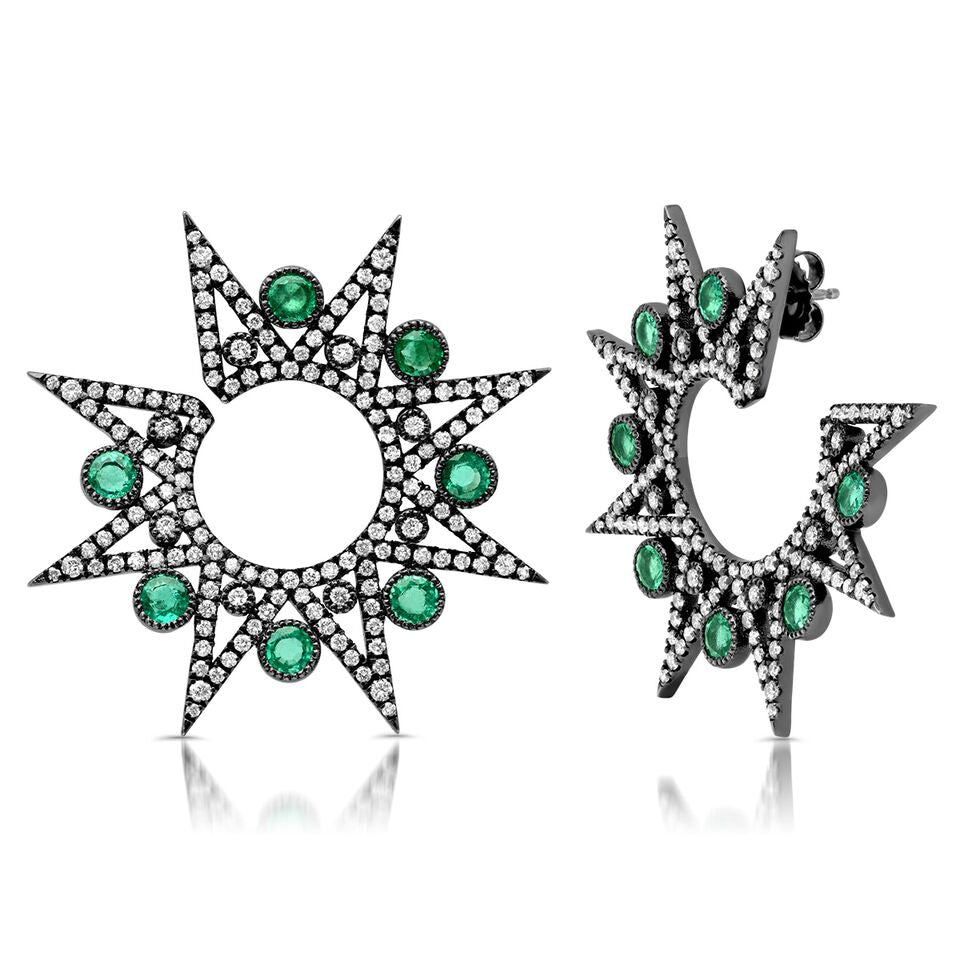 Star and Emerald Earring