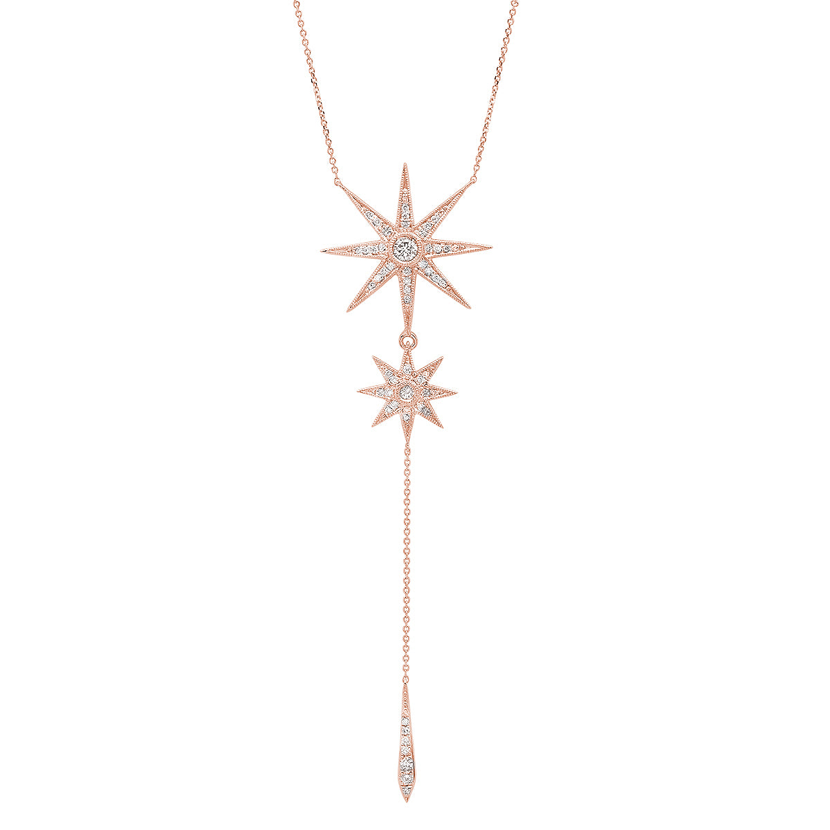 Two Star Drop Necklace