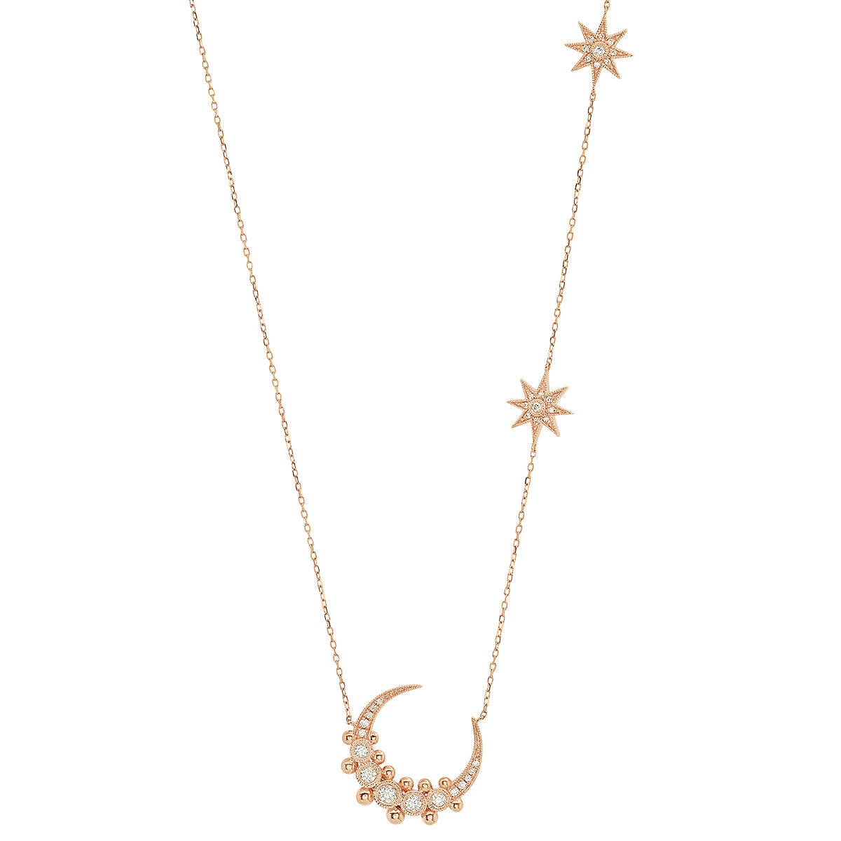 Moon and Two Star Diamond Necklace