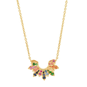 Mini Penacho Necklace Multi Color Sapphires